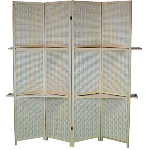 Home Line Biombo Separador, Grande, Practico con estanterías de Madera y Bambú Natural de 4 Paneles. 170x160 cm.
