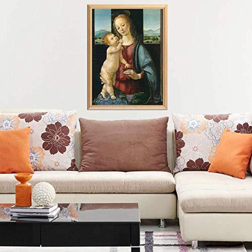 """Da Vinci Famosa Pintura""""La Virgen María"""" 5D Diy Diamante Pintura Completo Diamante Bordado Rhinestone Mosaico Imagen 50x70cm (Sin marco)"""