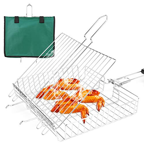 SZBYOO Stainless Steel BBQ Grill Basket with Detachable Wooden...