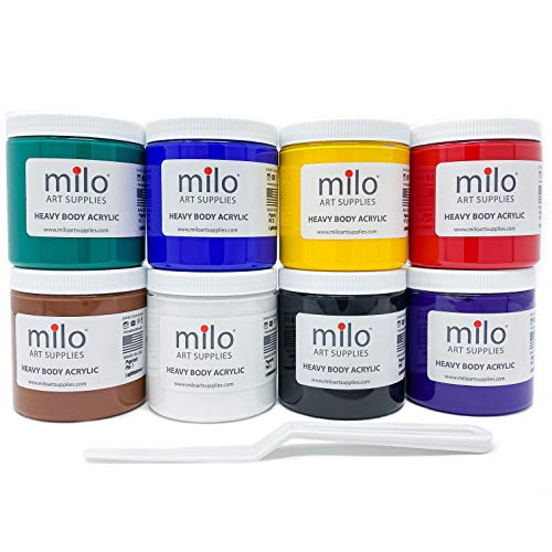 milo Heavy Body Acrylic Paint | 8 x 8 oz Jars | Made in the USA | Includes Palette Knife