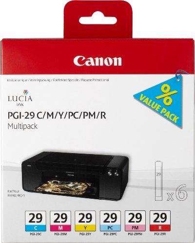 Canon PGI-29 6 original Tintenpatrone Multipack C/M/Y/PC/PM/R für Pixma Inkjet Drucker PRO1
