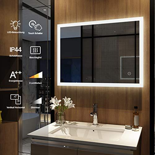 Meykoers Wandspiegel Badezimmerspiegel LED Badspiegel mit Beleuchtung 80x60cm mit Touch Schalter und Beschlagfrei, Badezimmerspiegel Dimmbar Warmweiß/Kaltweiß/Neutral 3000-6400K