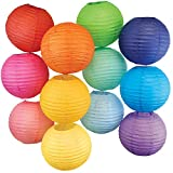 Just Artifacts 12 Assorted 10' Chinese Paper Lanterns (Multi-Color, 10-inch, Set of 12)