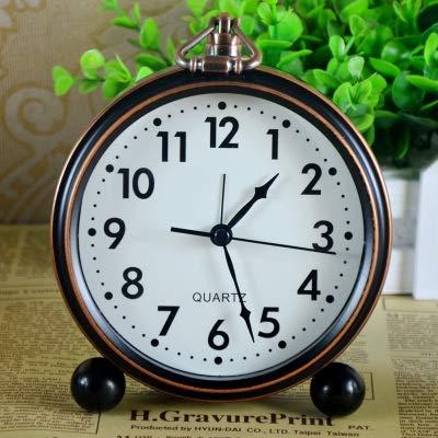 Giow 4-Zoll-Retro leise großen Wecker für Kinder kleinen Wecker europäischen Stil Wohnzimmer Nacht elektronische Uhr Standuhr, achtzehn