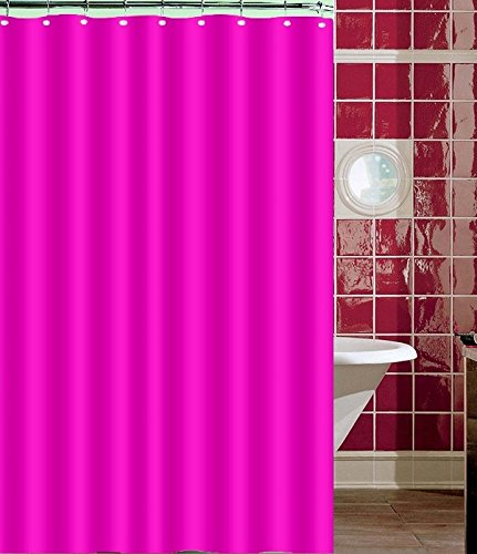 BH Home Polyester Fabric Water Repellent Shower Curtain Liner (Hot Pink)