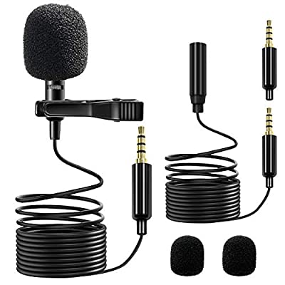 Small Lavalier Microphone, Clip-on Lapel Omnidirectional Condenser Microphone for Smartphones, PC, DLSR, YouTube, Interview, Podcast Recording