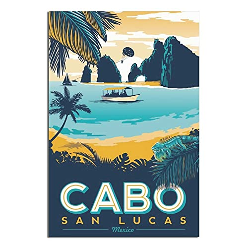 WSNBB Vintage National Park Poster Cabo San Lucas Canvas Art Poster Picture Modern Office Family Bedroom Decorative Posters Gift Wall Decor Painting Posters 12×18inchs(30×45cm)