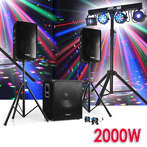 Set Sono DJ 2000 W 2 Lautsprecher Disco Club + Subwoofer Füße + Kabel + Pack Light Euphoria