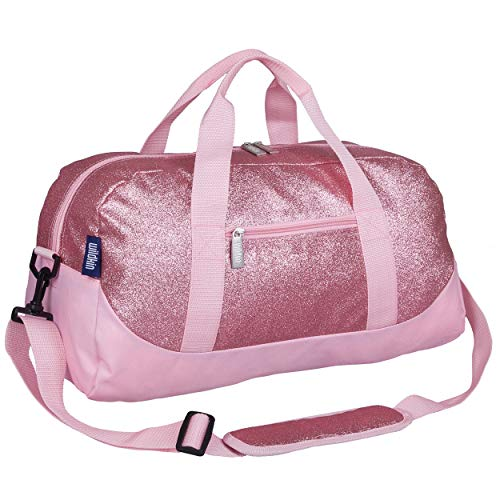 Wildkin Kids Overnighter Duffel Bag for Boys and Girls, Carry-On Size and Perfect for After-School Practice or Weekend Overnight Travel, Measures 18x9x9 Inches, BPA-free (Pink Glitter)