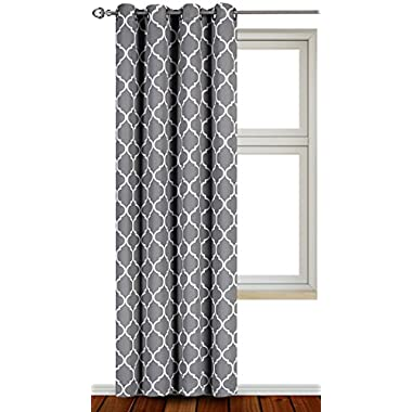 Utopia Bedding Blackout Room Darkening Curtains Window Panel Drapes - 1 Panel - 52 Inches Wide by 84 Inches Long each Panel - 8 Grommets/Rings per Panel - 1 Tie Back Included - by (Grey/White)