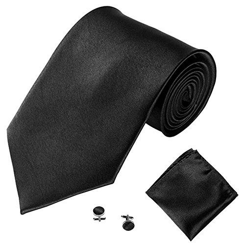 Xmiral Klassische Krawatte Herren Party Einstecktuch Taschentuch Manschettenknopf 3 STÜCKE(A)