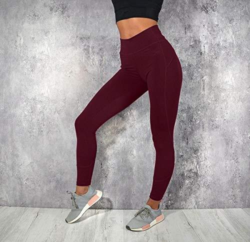 quming Alta para Mujer Mallas De Yoga Costuras,Leggings Deportivos de Cintura Alta para Mujer, Pantalones de Yoga elásticos Casuales para Mujer-3_XL
