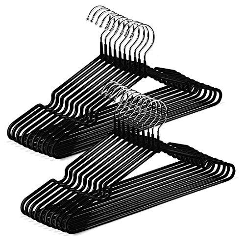 Bornran ハンガー すべらない 20本組 PVC特殊ラバー加工 ハンガー セット 衣類ハンガー ズボンハンガー 滑り止め 変形にくい hanger 超強い荷重 洗濯 物干しハンガー 乾湿両用 多機能 洗濯ハンガー(ブラック)