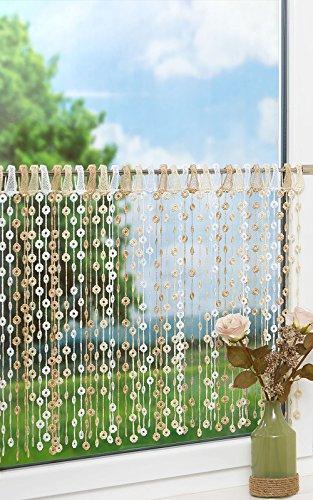 LYSEL Scheibengardine Blütenschnürchen (Bx H) 125cm * 50cm braun/beige