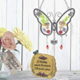 BANBERRY DESIGNS Mom Butterfly Suncatcher - Mother Message Stone Rock with Butterflies & Flowers Decorations and...