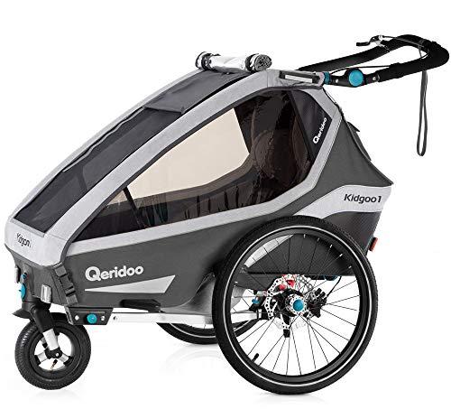 Qeridoo Kidgoo1 Sport 2020 Fahrradanhänger für ein Kind, Farbe:grau
