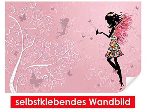 Autocollant décoration murale Butterfly Fairy – Facile à coller – Wall Poster Print, Wall Paper,, film vinyle avec point décoratif pour murs, portes, meubles et toutes les surfaces lisses de Trend murs, 90 x 60 cm