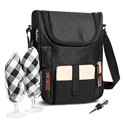 Insulated Travel Wine Tote Bag: Portable 2 Bottle Wine and Cheese Waterproof Black Canvas Carrier Bag Set with Picnic Backpack Kit