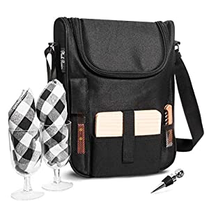 Plush Picnic – Wine Carrier Picnic Set, Durable Wine Cooler Bag with Glasses,...