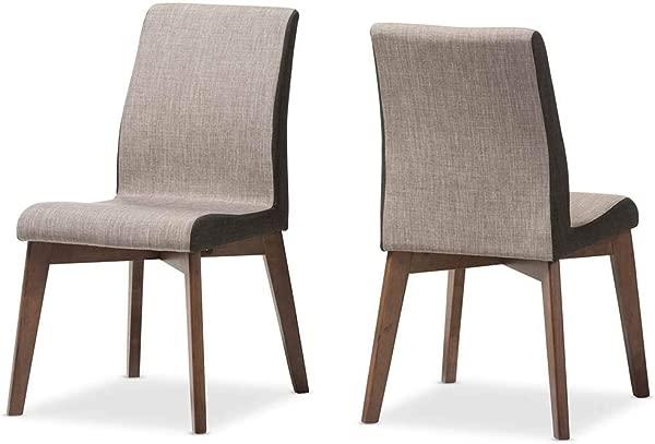 Baxton Studio Mid Century Modern Dining Chair In Gray Set Of 2
