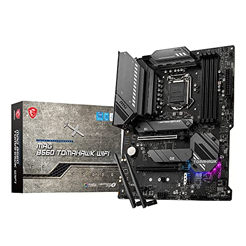 MSI MAG B560 TOMAHAWK WIFI, Scheda Madre Gaming, ATX - Supporta CPU Intel Core 11th Gen, LGA 1200 - Mystic Light, DDR4 Boost (5066MHz/OC), 2 x PCIe 4.0/3.0 x16, 3 x M.2 Gen4/3, 2.5G LAN, Wi-Fi 6E