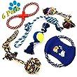 Dog Rope Toys ANICOR Color Rope Durable Chew Toys Coton Corde Nettoyer les dents Jouets pour petits, moyens et grands chiens Ensemble cadeau 5 paquets