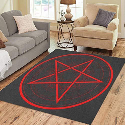 Liz Carter 36X24 inch Teppich Satan Baphomet Star Reversed Pentagram Satanic Sign Gothic Amulett Boden Teppiche Teppich
