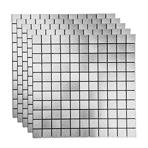 K&F-qianzhi 10 Piezas 30 x 30 cm Pegatinas 3D para Azulejos, Pegatinas, con Acabado de Metal Cepillado