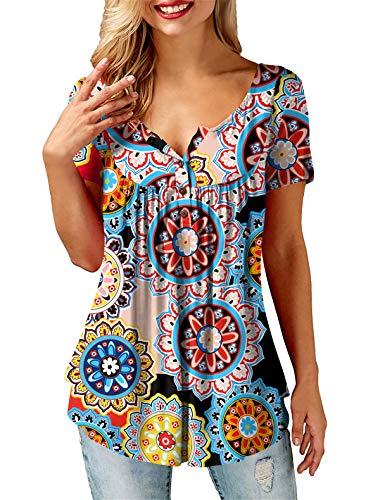AMORETU Tunika Damen Blumen T-Shirt V Ausschnitt Knopfleiste Bluse Oberteil,2-orange,48(XL)