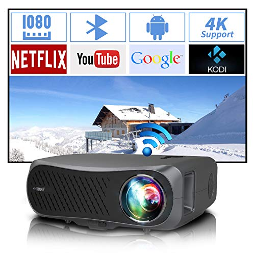 Full HD Wifi Bluetooth Projector 1080P Native Support 4K, 7200 Lumen LED Smart Android Wireless Home Outdoor Indoor Projector 1920x1080 USB HDMI VGA AV Audio for Laptop PC TV DVD PS4 Smartphones Mac