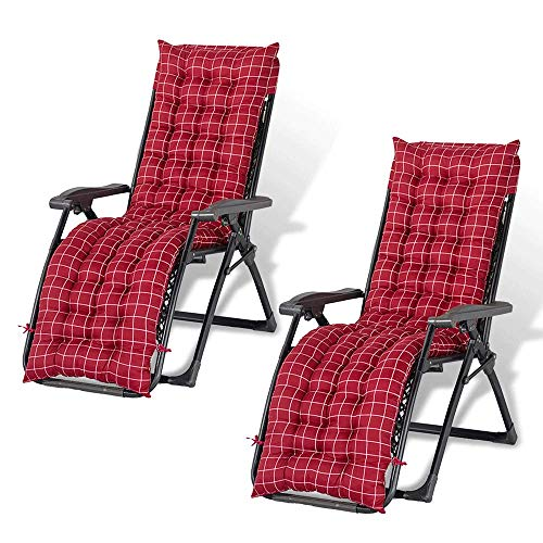 Sun Lounger Recliner Cushions Soft Cotton Sofa Outdoor High Back Chair Seat Pad Comfortable Cushion Backrest Anti-slip the Scrub is Washable, Easy to Care For, Softer and More. (Red plaid- 2 PCS)