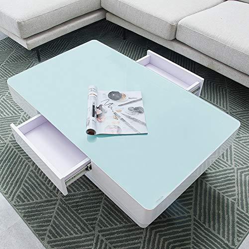 TUKAILAI weiß Hochglanz-Couchtisch mit 2 Schubladen Stauraum Glasplatte für Wohnzimmermöbel, weiß, 100x60x35cm