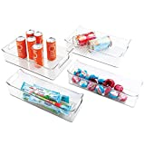 mDesign Rangement frigo pour la Cuisine (Lot de 4) – bac de Rangement Pratique pour Le réfrigérateur – Rangement épices maniable en Plastique – Transparent