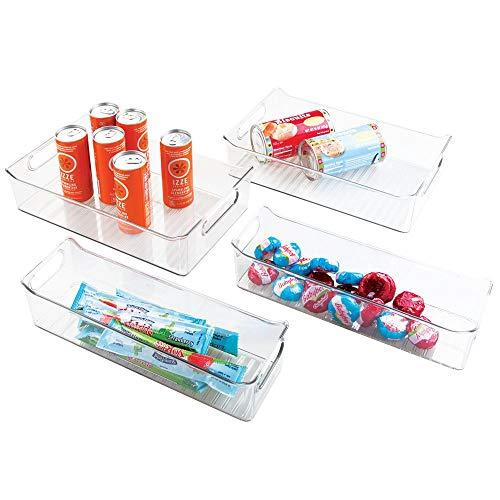mDesign 4er Set Aufbewahrungsboxen für die Küche – praktische Küchen Ablage für den Kühlschrank – handliche Kühlschrankbox aus Kunststoff – durchsichtig