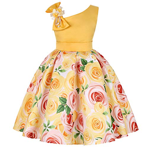 Btruely Prinzessin Kleid Mädchen Brautjungfern Kleid Blumen Abendkleid Hochzeit Cocktailkleid Partykleid Tüll Festzug Kinder Festzug Kleid Spitze Kleid (160, Orange)