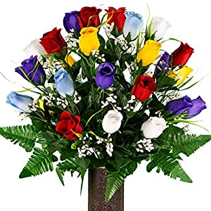 Sympathy Silks Artificial Cemetery Flowers – Realistic – Outdoor Grave Decorations – Assorted Mix of Red Blue Purple Yellow and White Roses with Lily Grass