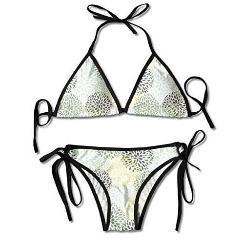 El jardín de los pétalos Deja los Sistemas para Mujer Impresos del Bikini, bañador de la Playa del Traje de baño del triángulo