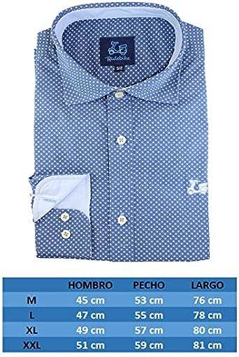 Ridebike Hombre Camisa Azul con topitos Logo Bordado Vespa Cuello Italiano (1803B)