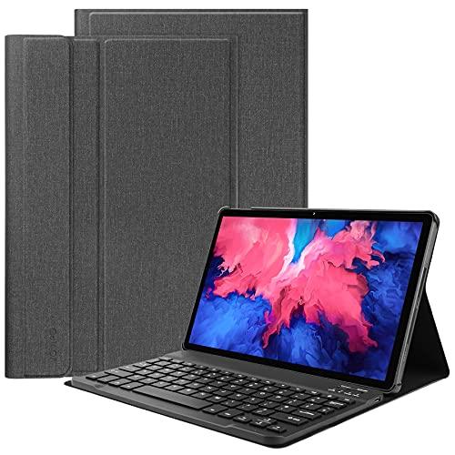 VOVIPO Tastiera Custodia per Lenovo Tab P11 11inches Tablet 2020 Released, Italiano Layout Pelle PU Custodia con Rimovibile Wireless Keyboard Tastiera per Lenovo Tab P11 TB-J606-Black