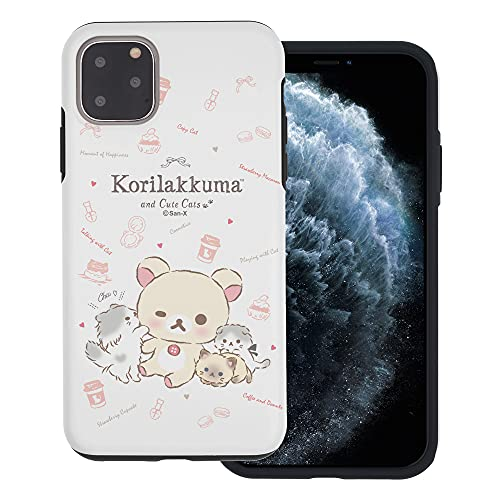 Compatible with iPhone 12 Pro/iPhone 12 Case (6.1inch) Rilakkuma Layered Hybrid [TPU + PC] Bumper Cover - Korilakkuma Cat