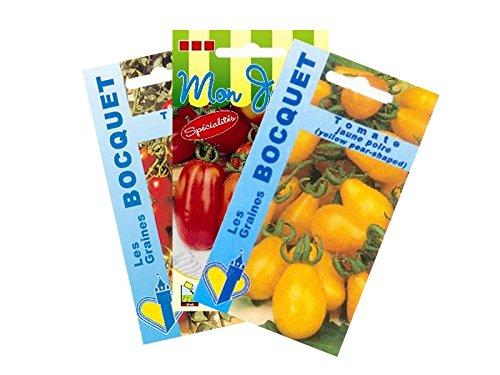Lot de 3 sachets de Graines de Tomates spéciales Apéritif - Graines Potagères à semer