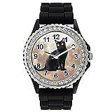 Timest - Gato de Bombay Reloj de Silicona Negro para Mujer con piedrecillas Analógico Cuarzo SG1777