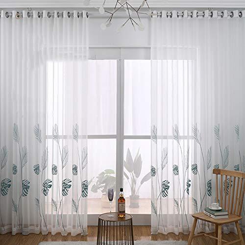 Broderie Plantes Tropicales Rideaux Voile Fenêtre Décoration Rideaux Voilage À Oeillets Pour Salon Chambre À Coucher Lot De 2,W140xL245cm