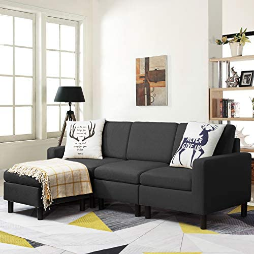 Waleaf Convertible Sectional Small Sofa with Reversible Chaise L Shape 3 Seater Sofa Couch with product image