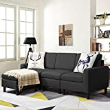 Waleaf Convertible Sectional Small Sofa with Reversible Chaise, L-Shape 3-Seater Sofa Couch with Modern Linen Fabric, Living Room Indoor Sleeper with Ottoman Set for Small Space (Dark Grey)