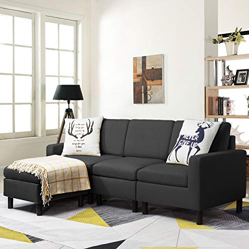 Pretzi Convertible Sectional Small Sofa with Reversible Chaise, L-Shape 3-Seater Sofa Couch with Modern Linen Fabric, Living Room Indoor Sleeper with Ottoman Set for Small Space (Dark Grey)