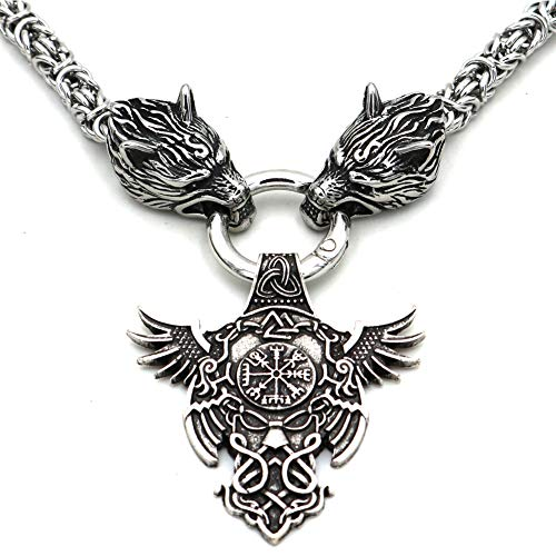Serired Hombres Viking Collar, Nórdico Dios Odin Cuervo Vegvisir Celtic Nudo Acero Inoxidable Colgante Amuleto, Unisex Vikingo Retro Pagano Joyería,50CM
