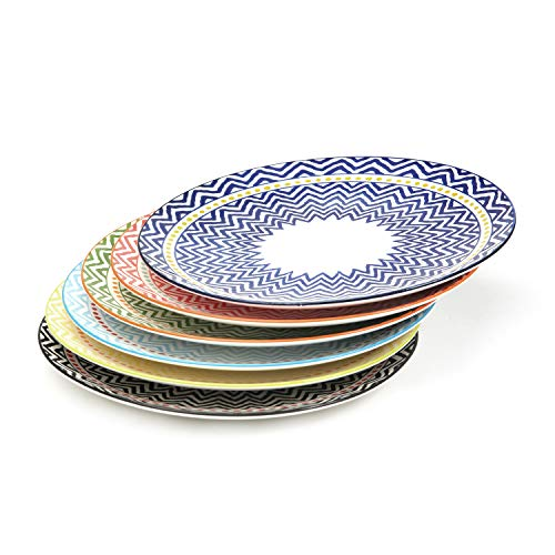 10.3 Inch Porcelain Plates Set for Dinner Pasta, Salad - 6 Pack Assorted Colors,