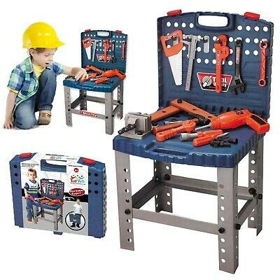 vapewaves Workbench Kids Tool Set Workshop Toy w/12 Realistic Hanging Tools & Electric Drill For Educational Play - Best Tool Kit Bench For Toddlers, Kids, Boys & Girls Ages 3+