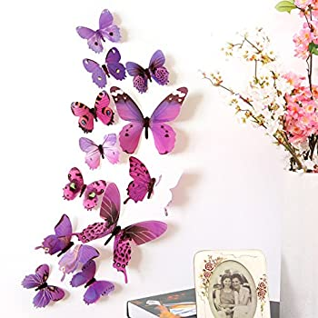 12 PCS 3D Removable Sticker Mural Stickers Butterfly Wall Decal Sticker DIY 3 Sizes Butterfly Wall Stickers Decor for Home and Room Decoration Kids Girls Teens  Purple